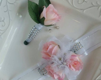 Prom Corsage Set or Wedding Corssge set Blush and Bling Blush Pink Rose Wrist Corsage and Matching Boutonniere with Sparkle.