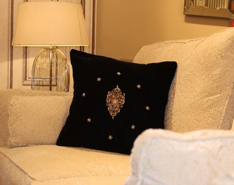 Black CUSHION COVERS, Cushions for sofa,DECORATIVE Throw Pillows,Handmade Emroidered Cushions,