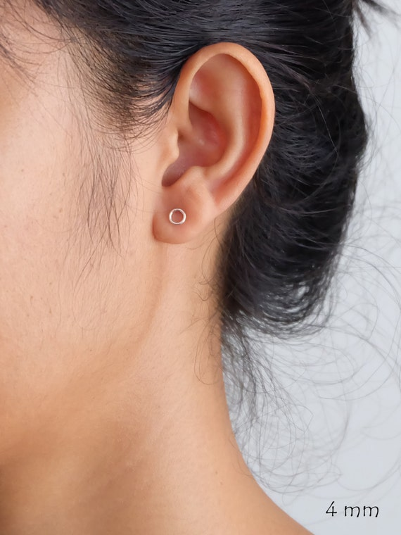 Ring Circle Silver Stud Earrings minimalist stud earrings