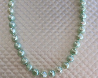 Hand-Knotted Mint Green Pearl Necklace