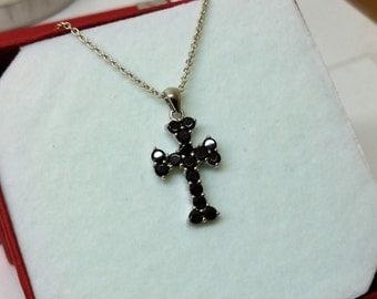 Pendant cross Silver 925 Garnet stones precious SK670