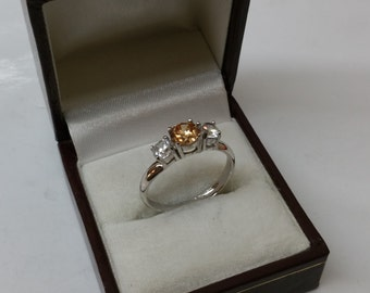 Ring Silver 925 with crystal clear / orange SR657