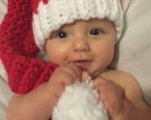 Santa Hat, Santa Hat baby, Baby Christmas Hat, Christmas Hat ,newborn Christmas Hat, READY TO SHIP! Great for your photo cards