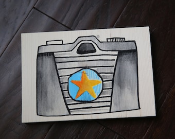 Hand Painted Camera on Wood 5x7
