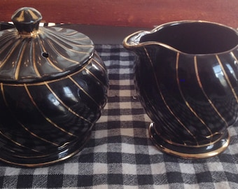 Early mid-century (c.1940s) Sadler 1493 hand-painted black, gold swirl cream and covered sugar bowl set.  Very rare black Sadler.