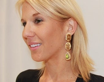 Ava Dangle Earrings with 3 Genuine Austrian Swarovski Crystals in Gold Plating.
