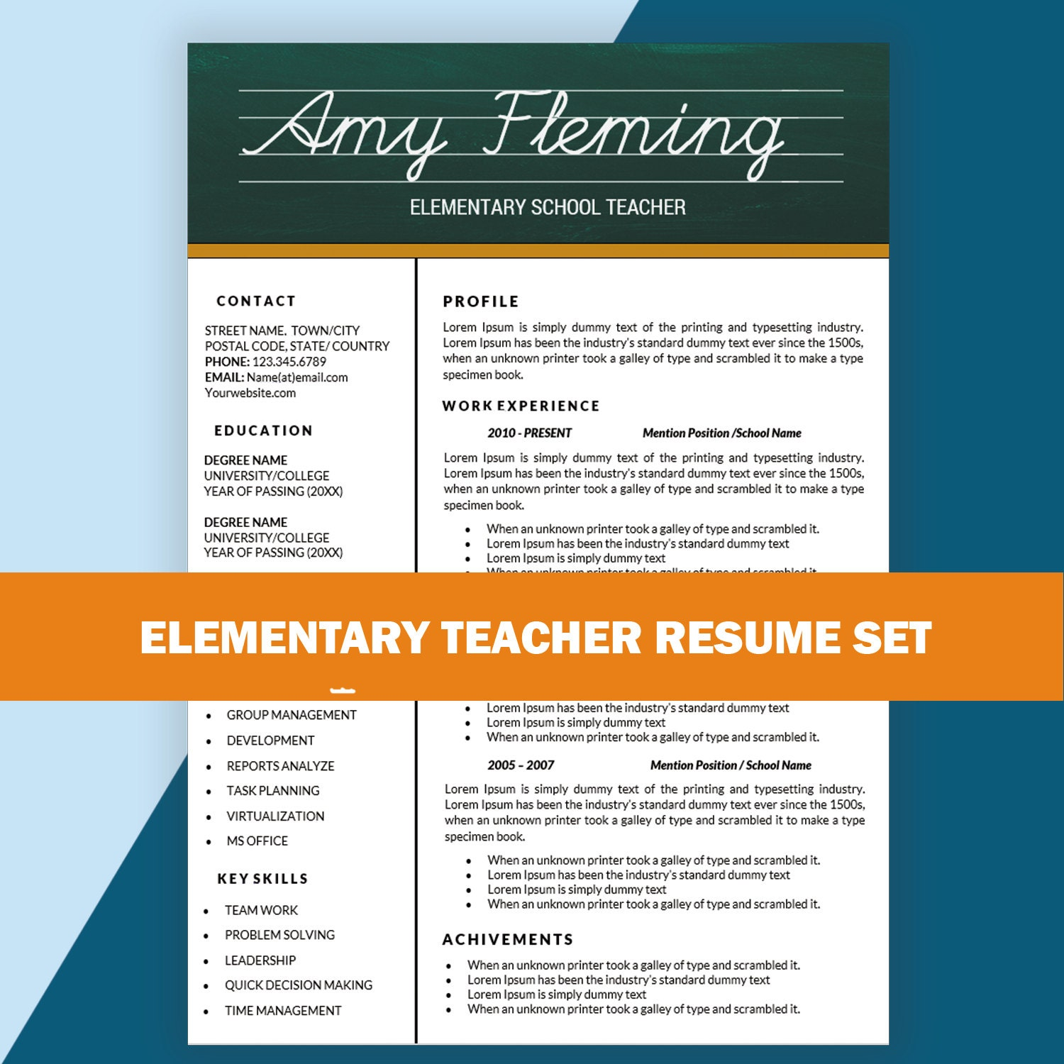Elementary Teacher Resume CV Templates Teaching by