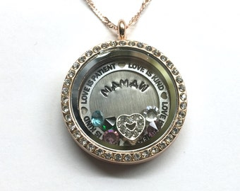 MAMAW custom locket with birthstones - Love Is Patient Love Is Kind border - memory locket - gift for Mamaw