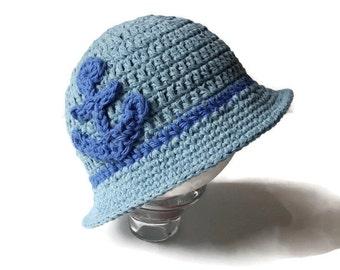 Crochet Baby Sun Hat, Baby Summer Hat, Crochet Baby Boy Hat, 0-3 Months Brim Hat, Crochet Baby Brim Hat, Nautical Hat, Beach Hat, Fedora Hat