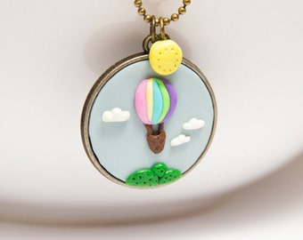 """Necklace """"Aurelie"""" with Air Balloon and Clouds"""