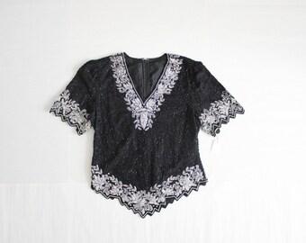 beaded silk blouse / beaded blouse