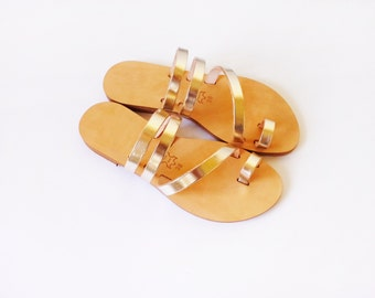 Handmade greek style leather sandals/slides in Gold colour