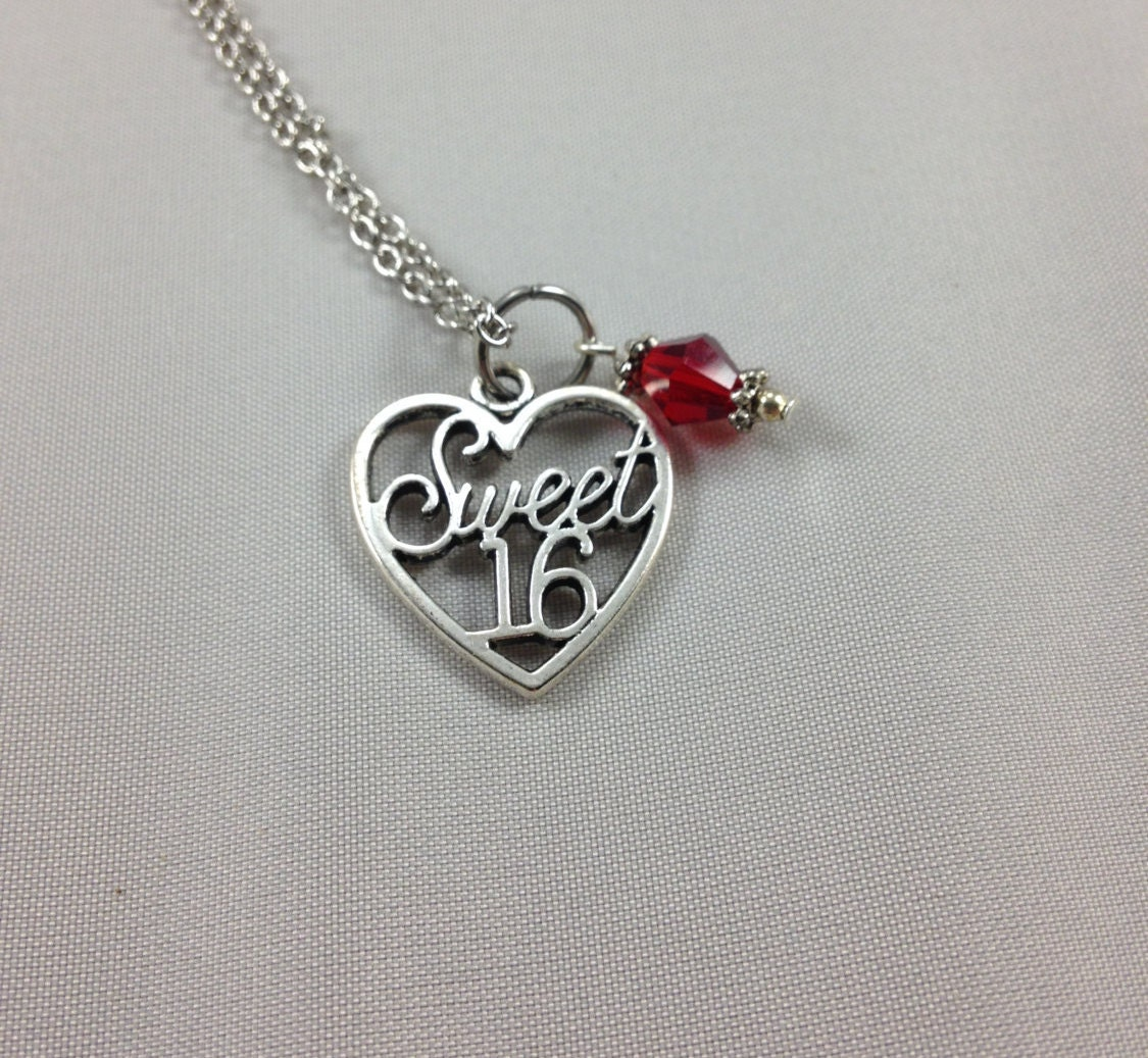 Sweet 16 Necklace 16th Birthday Happy Birthday Gift Heart