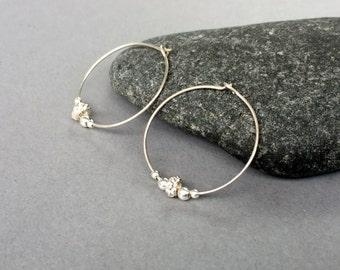 Sterling silver hoops, Beaded hoop earrings, Bridesmaids earrings, Sterling silver hoop earrings, Small silver hoop earrings