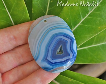 Blue Striped Agate Pendant with Druzy Hole, Oval Agate Slice in Shades of Blue, Front Drilled Agate Stone for Wire Wrapping or Bail