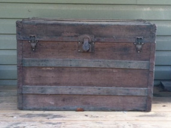 Antique Steamer Trunk Coffee Table Wood And By Bluespringsorchard