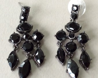 Carolee Black Rhinestone Pierced Chandelier Dangle Earrings