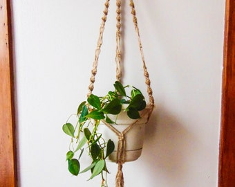 Long Natural Jute Macrame Plant hanger / 100% Natural Jute cord