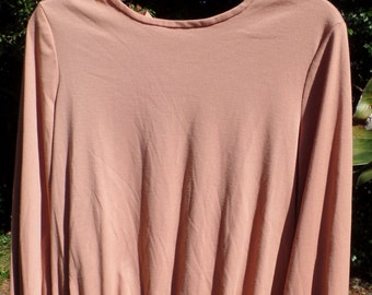 vintage 70's J.C. Penney blouse -- ladies draw string sleeve peasant top shirt blouse salmon blush