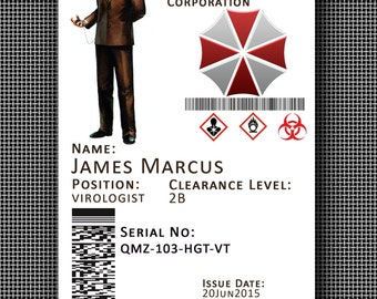 Customised Resident Evil Umbrella Corporation Corp Novelty Cosplay ID Badge Card