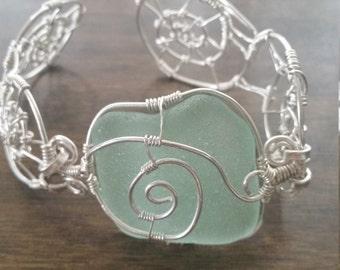 Sea Glass Bracelet. Sea Foam Sea Glass Bracelet. Sea Glass Jewelry. Wire Wrapped Sterling Silver Bracelet. Genuine Sea Glass. Handmade