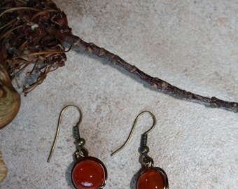 152 Carnelian and copper wire wrapped earrings, boho, rustic, artisan, dangle