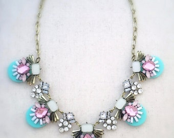 Statement necklace, mint statement necklace, pink statement necklace, gold statement necklace, crystal statement necklace,