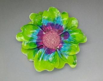 HUGE Colorful Hand Painted Flower Brooch