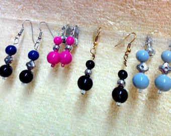 Earrings, Balls w/Silver Spacers, Choice of colors, OOAK