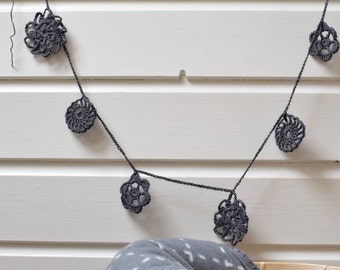 Crochet Doily Garland Dark Grey