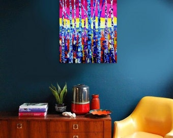 ABSTRACT PAINTING Bright Colorful Blue Abstract Art, Modern Art Canvas Painting, Original Oil Painting, Wall Art, Wall Decor Home Gift