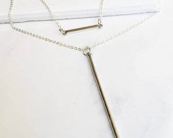Silver Bar Layered Necklace