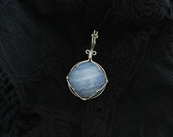 Blu Lace silver plated pendant
