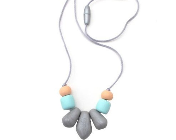 SALE (HALF PRICE) Wilow beads// Handmade polymer chunky clay bead necklace//  Silver, aqua and peach necklace// hypoallergenic// #SN3045B