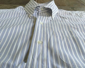 BROOKS BROTHERS White Striped Cotton Poplin Button Down Shirt 14.5 - 32 Ivy League Trad