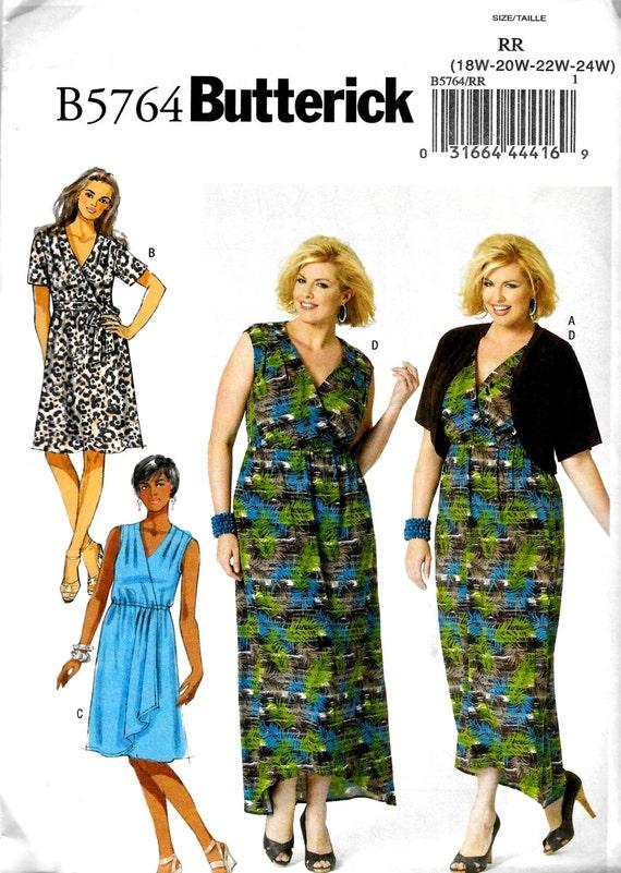 Womens Plus Size DIY Knit Mock Wrap Dress, Shrug and Belt ...