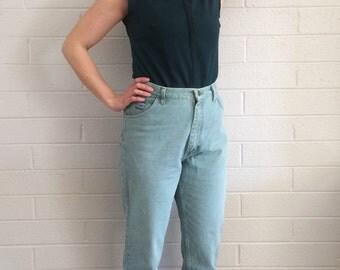 Mint Green High Waisted Wrangler Jeans, 90s Denim