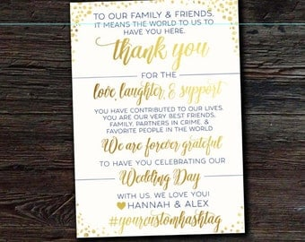 Thank You Note for Wedding Reception - 5x7 White & Gold