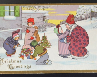 Christmas Postcard Mrs. Claus Children Series 402A Santa Claus Stetcher Card