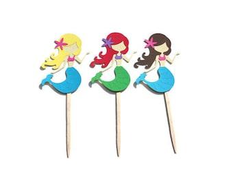 Mermaid Cupcakes, Mermaid Toppers, Mermaid Birthday, Mermaid Party, Under the Sea Party, Mermaid Party Decor, Mermaid Decor