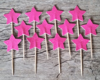 12 Pink (Hot/Light) Star Cupcake Toppers