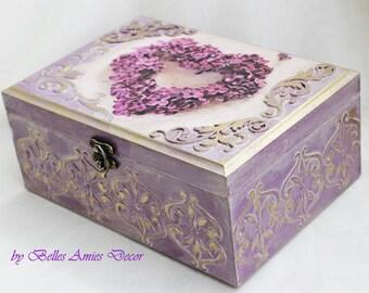 Tea box, personalized jewelry box, wedding gift, lilac, shabby chic box, housewarming gift, personal message box , jewelry box with heart