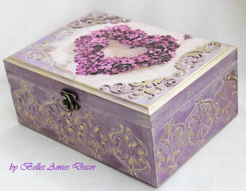 tea box personalized jewelry box wedding gift lilac shabby