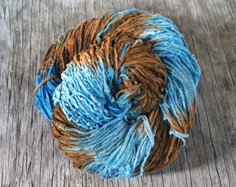 Little Boy Blue - 100% Cotton Chenille Yarn - DK Equivalent - Fuzzy Cotton Yarn - Hand Dyed Cotton Yarn - Brown and Blue Yarn - Novelty Yarn