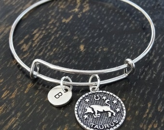 Zodiac Taurus Bangle Bracelet, Adjustable Expandable Bangle Bracelet, Taurus Charm, Zodiac Taurus Pendant, Taurus Jewelry, Taurus Bracelet