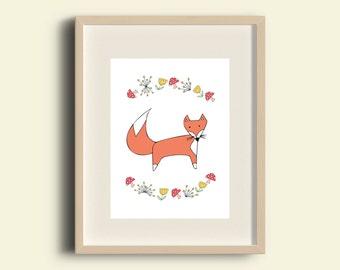 Fox woodland nursery print illustration wall decor A4 (8.3 x 11.7 in)
