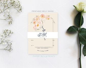 ARIA SUITE || Printable Wedding Invitation Belly Band, Vintage, Script, Simple, Floral, Rustic