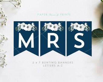 INSTANT DOWNLOAD | Bridal Shower Bunting Banner, Navy, Floral, Wedding, Decor