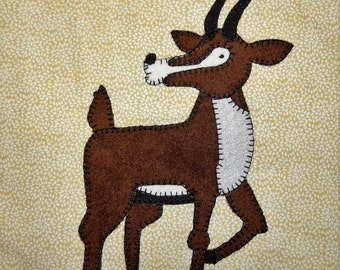 Gazelle PDF applique pattern;African animal quilt block; safari animal quilt pattern; baby or child's quilt pattern; Ms P Designs