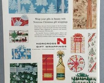 1956 Norcross Git Wrappings Print Ad - Christmas Ad